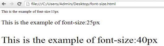 example of font-size property