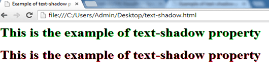example of text-shadow property