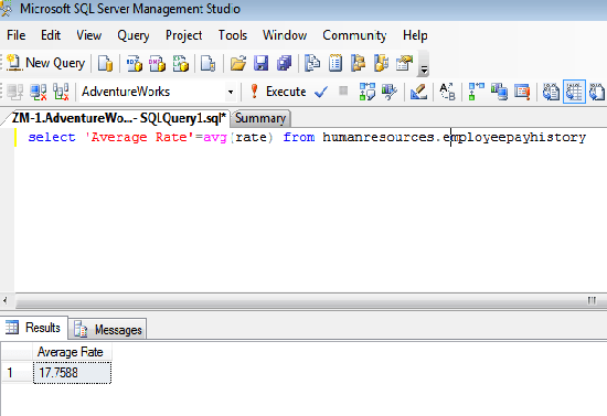 function avg() example screen shot