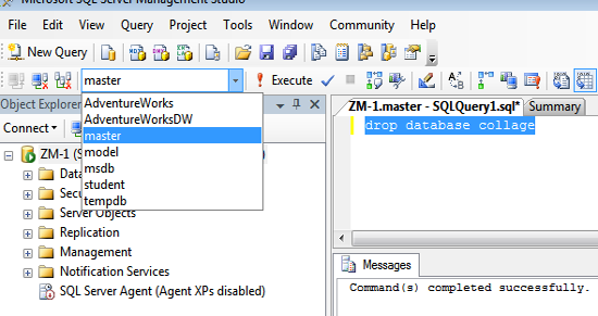 drop database screen shot