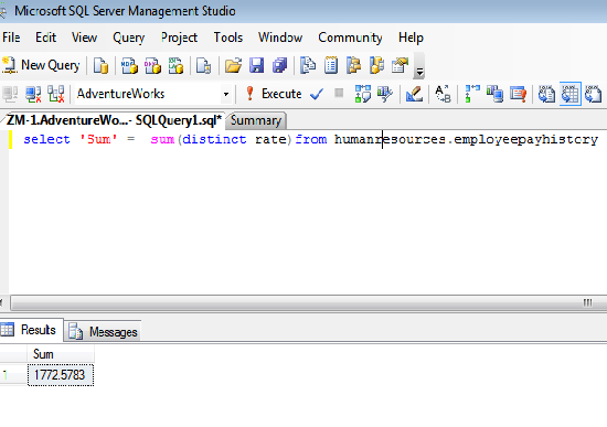 function sum() example