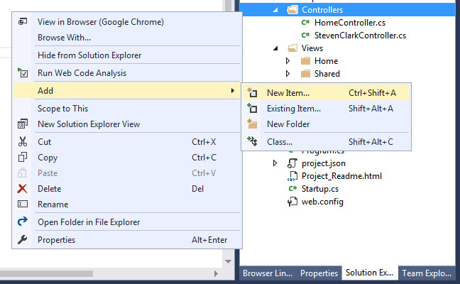Adding a Controller in ASP NET Core 1 0 App