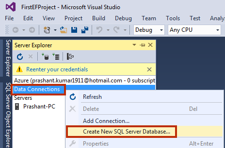 Create New SQL Server Database