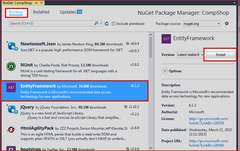 Insert, Update, Delete using Models with Entity Framework in