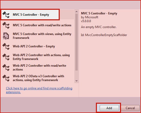 MVC 5 Empty Controller