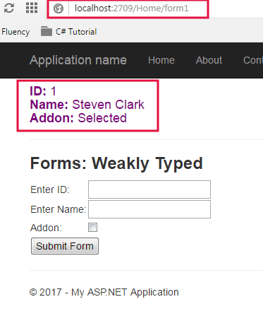 Weakly Typed Form Output