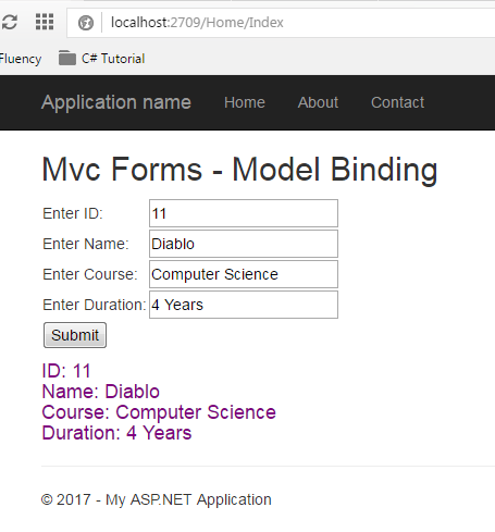 Model Binding Output